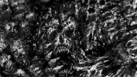 Dark demon skull of screaming corpse. Scary background of remains. Burnt bones in ash and dirt. Gloomy character concept art. Black and white illustration in horror fantasy genre. Coal and noise effect. Stockfoto