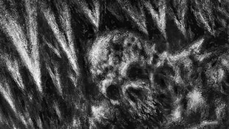 Withered mummy of a alien sits in dark. Icicles in cave and skeleton. Illustration in horror genre with coal and noise effect. Scary background of remains. Black and white colors. Coal and noise effect.
