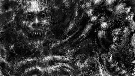 Dark face of corpse the screaming. Black and white illustration in horror fantasy genre. Scary background of remains. Burnt bones in ash and dirt. Gloomy character concept art. Coal and noise effect.