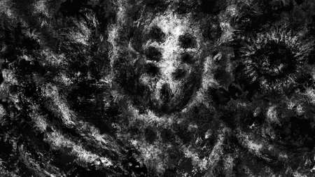 Dark alien skull of corpse. Black and white illustration in sci-fi horror genre. Scary background of remains. Burnt bones in ash and dirt. Gloomy character concept art. Coal and noise effect. Stockfoto