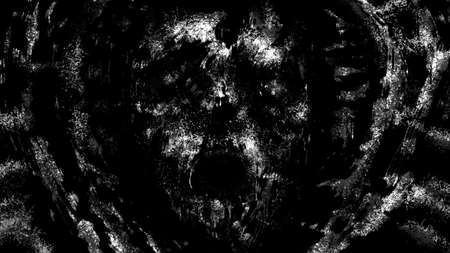 Dark skull of corpse the screaming. Black and white illustration in horror fantasy genre. Scary background of remains. Burnt bones in ash and dirt. Gloomy character concept art. Coal and noise effect.