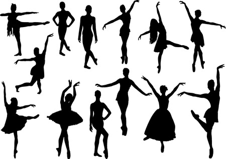 ballet slippers: Ballet silhouette Illustration