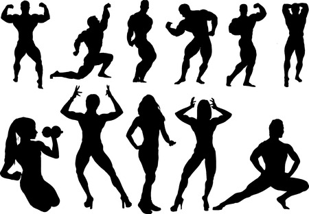 Body building silhouette Vector