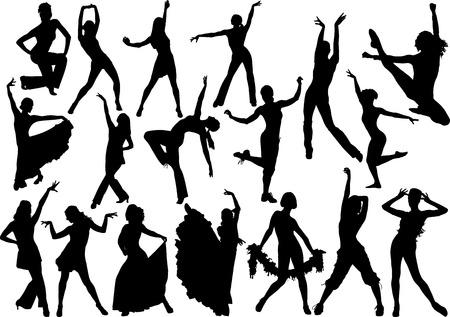 Silhouette tanzen Vektorgrafik