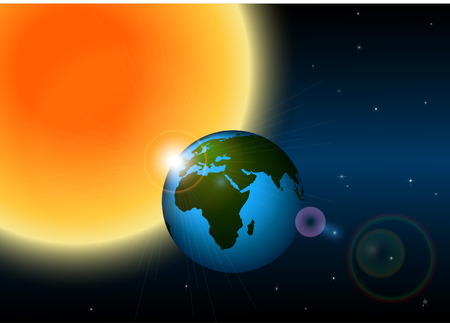 Earth and sun Stock Vector - 8116565