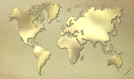 world map outline: World map made of gold