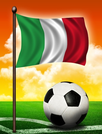 italiA: Italian flag and ball