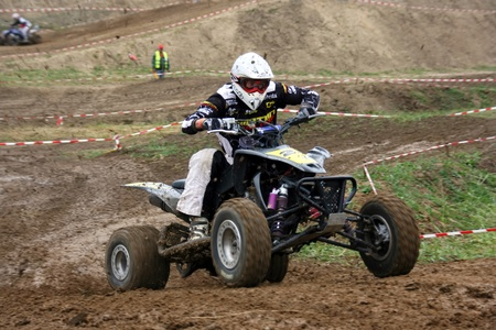 Unidentified racer on quad in action at East European MX Championship