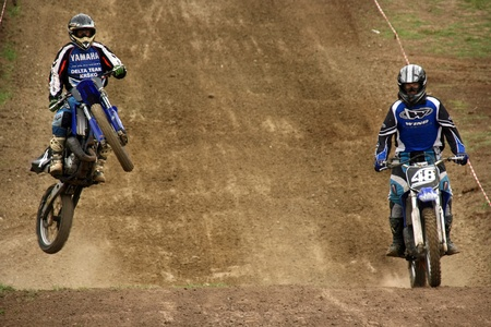supercross: Unidentified racers in action at East European MX Championship