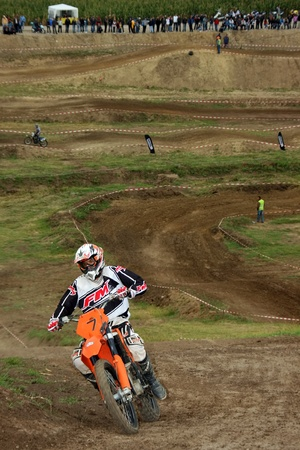 Unidentified racer in action at East European MX Championship