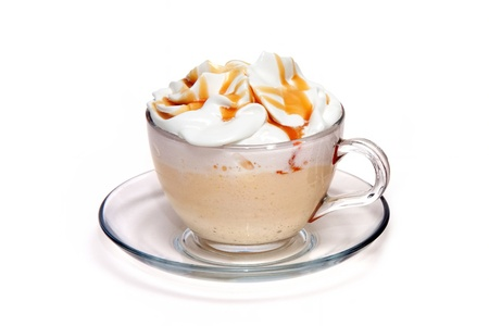 cappuccino: Coffe cocktail with caramel in glass cup