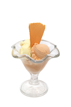 Ice cream cup with cookies isolated photo