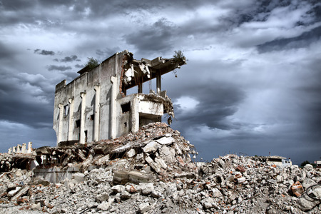devastation:  Remains from the demolition of old derelict buildings