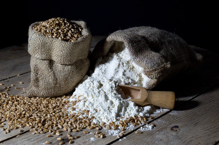 Jute Bags Filled with Wheat and Flour on an Old Wooden Table Over Black Background photo