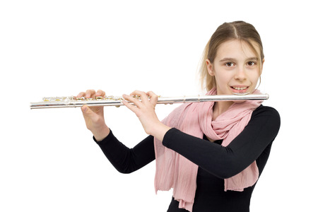 frontal view: Frontal View of Blonde Hair Girl in Black Blouse with Pink Scarf Holding Flute and Smiling into the Camera. Studio Shot Isolated on White