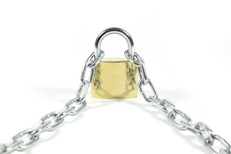 unsolved: Golden Padlock And Metal Chain Isolated On White Background, Closeup Stock Photo