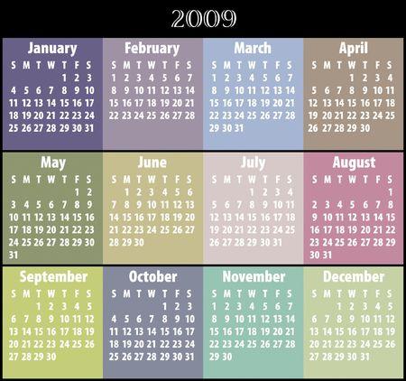 cronologia: Calendario 2009  Foto de archivo