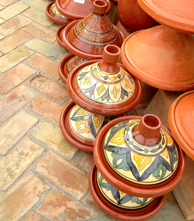 Moroccan tajine terracotta and ceramic traditional cooking pot. Stock Photo