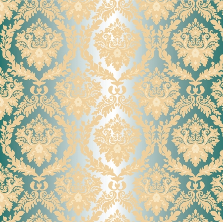 damask Walpaper on blue background Vector