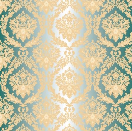 damast Walpaper op blauwe achtergrond