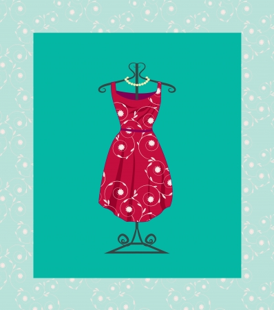 retro 60s dress with clothes hanger  Vector