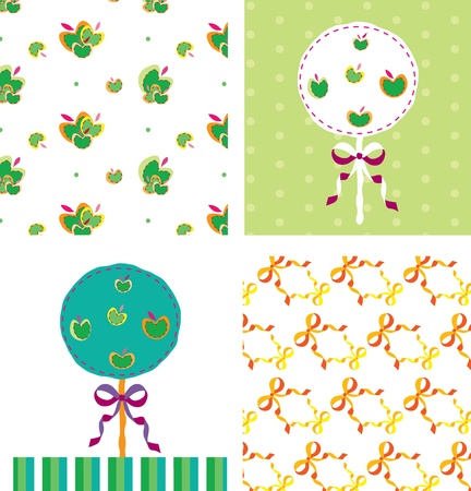 apple tree card and seamless pattern