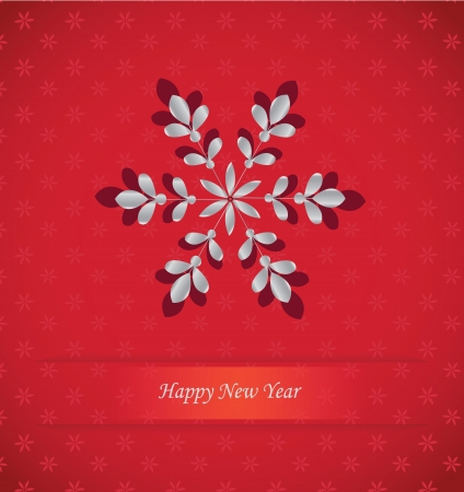new year card with snowflake on red background Stock Vector - 16819269