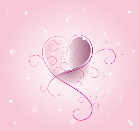 Valentines day, vector background with shiny background