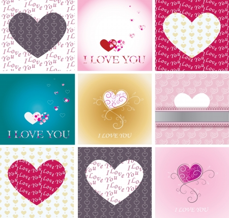 Greeting cards and heart set
