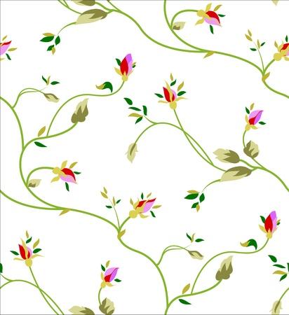つぼみと白い背景の上の葉とのシームレスなパターン。 写真素材 - 18011199