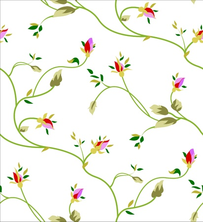 Seamless pattern with rosebuds and leaves on a white background. Vector