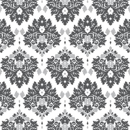 Seamless damask wallpaper grey tones  イラスト・ベクター素材