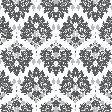 Seamless damask wallpaper grey tones Stock Vector - 18339983