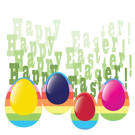 greeting card with colorful eggs Illustration