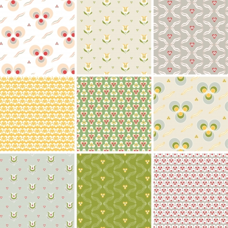 set of nine floral and geometric  colorful seamless pattern Vector