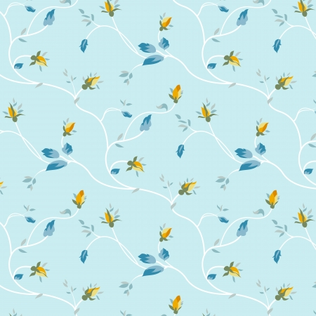 Seamless pattern with rosebuds and leaves on a blue background.