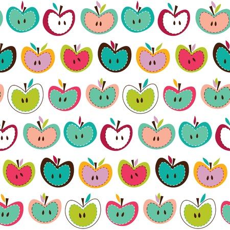 Seamless cute colorful retro apple pattern