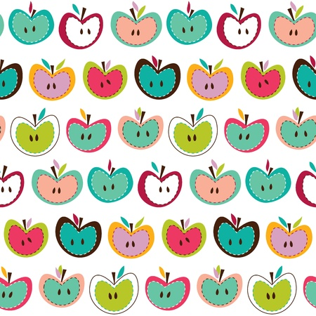children eating fruit: Seamless cute colorful retro apple pattern