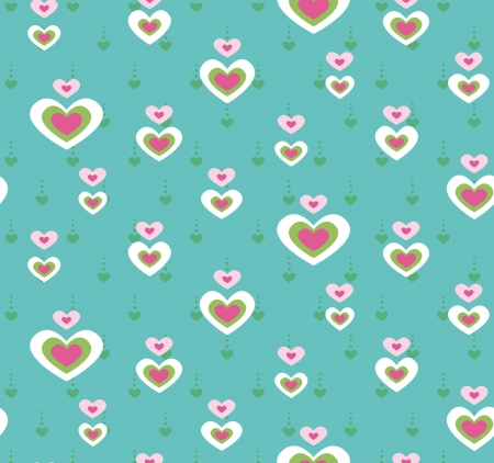 Seamless pattern with heart on a turquoise background Illustration