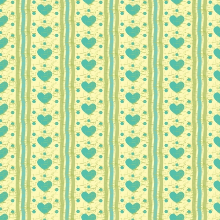 Seamless pattern with hearts, green and blue stripes Illustration