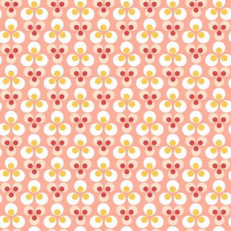 Yellow,red dots seamless pattern on a pink background Illustration