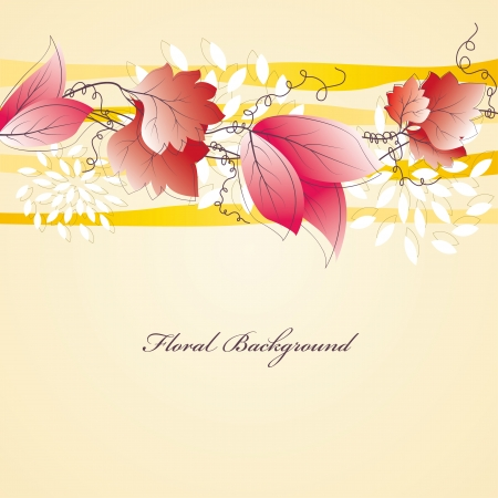 Floral banner design with leaves