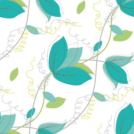 Seamless pattern with leaves on a white background.   Vector