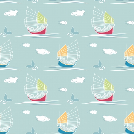 Seamless pattern with nautical elements Ilustração