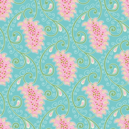 Paisley floral seamless background, cute colors Ilustração