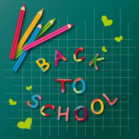 Colorful back to school poster with colored pencils   Vector