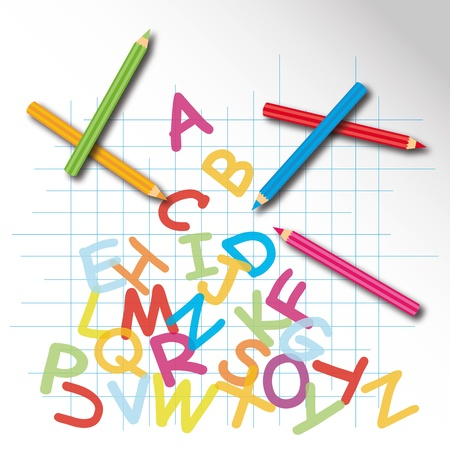 colored pencils: Colorful back to school poster with colored pencils  Illustration