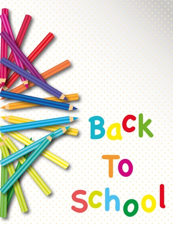 Back to school poster with colored pencils  Illustration