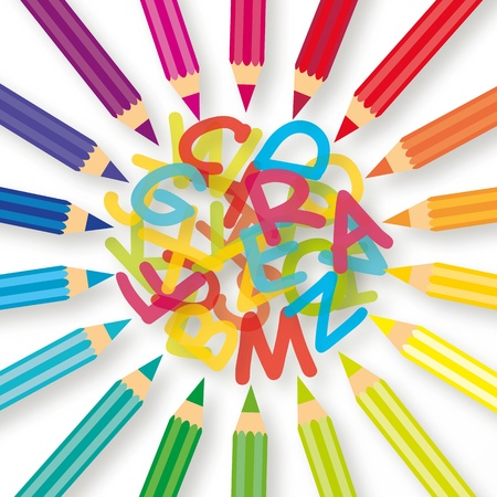 colored pencils: Colored pencils with colorful letter  Illustration