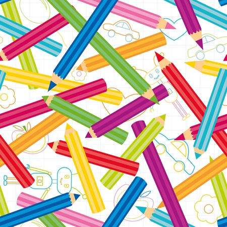 Childish shapes and colored pencils seamless pattern Vector